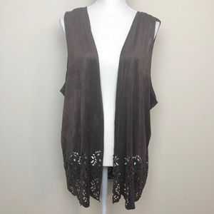 Extra Touch Chocolate Brown Cutout Vest.